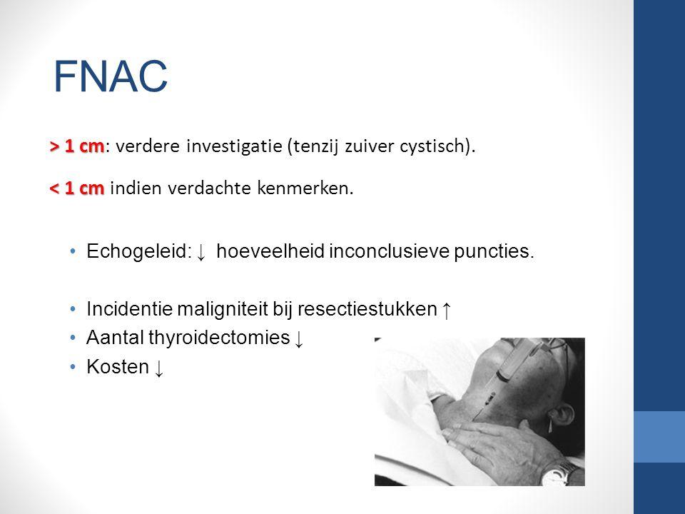 > 1 cm > 1 cm: verdere investigatie (tenzij zuiver cystisch).