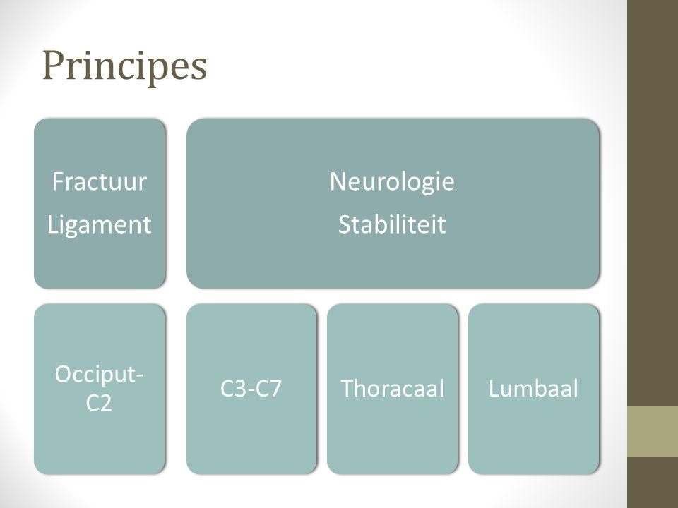 ASIA Volledige motorische en sensorische uitval, inclusief zadel: A Onvolledige uitval Sensorisch: B Motorisch C: graad 0-2 D: graad >3 Normaal: E
