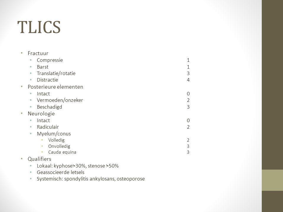 TLICS Fractuur Compressie1 Barst1 Translatie/rotatie3 Distractie4 Posterieure elementen Intact0 Vermoeden/onzeker2 Beschadigd3 Neurologie Intact0 Radiculair2 Myelum/conus Volledig2 Onvolledig3 Cauda equina3 Qualifiers Lokaal: kyphose>30%, stenose >50% Geassocieerde letsels Systemisch: spondylitis ankylosans, osteoporose
