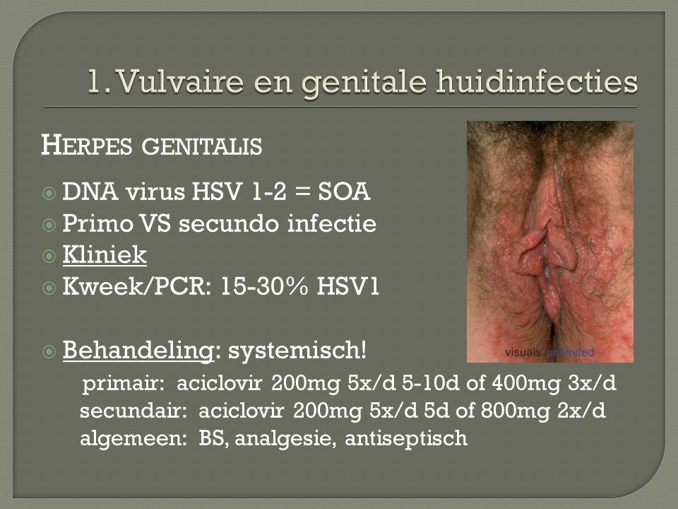 H ERPES GENITALIS  DNA virus HSV 1-2 = SOA  Primo VS secundo infectie  Kliniek  Kweek/PCR: 15-30% HSV1  Behandeling: systemisch! primair: aciclov