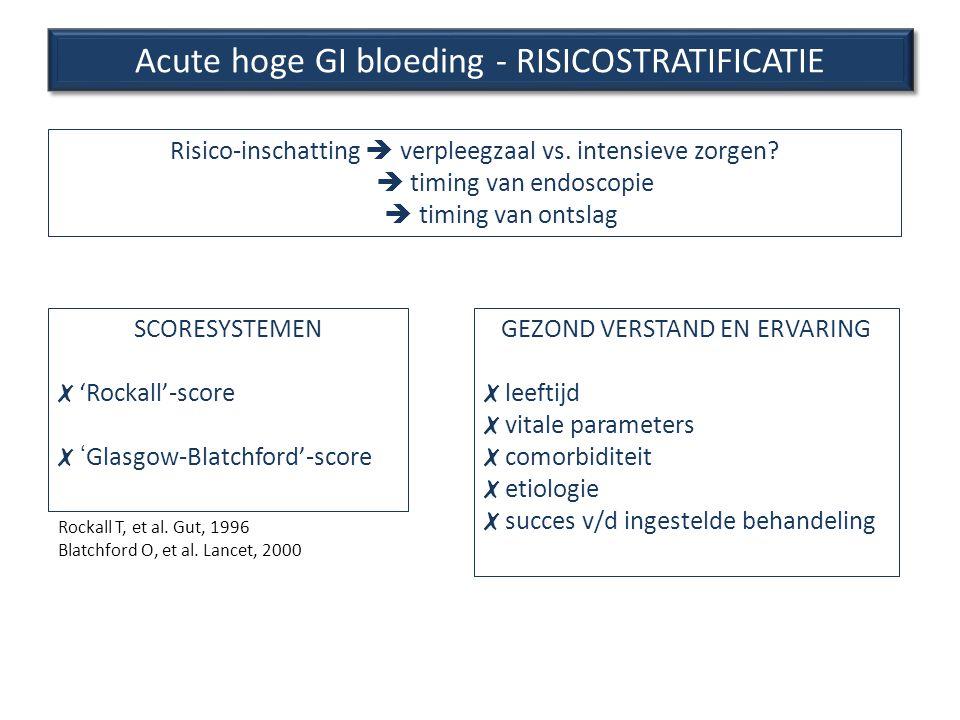 Acute hoge GI bloeding - RISICOSTRATIFICATIE Risico-inschatting  verpleegzaal vs. intensieve zorgen?  timing van endoscopie  timing van ontsla