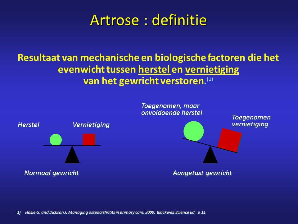 Artrose : definitie Resultaat van mechanische en biologische factoren die het evenwicht tussen herstel en vernietiging van het gewricht verstoren.