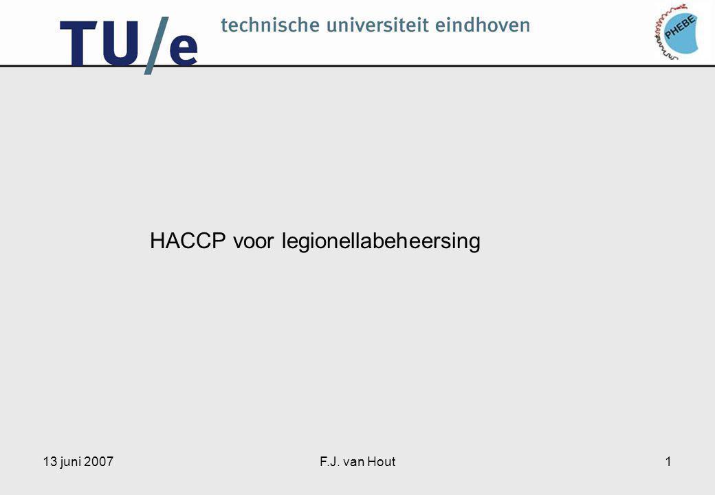 13 juni 2007F.J. van Hout1 HACCP voor legionellabeheersing