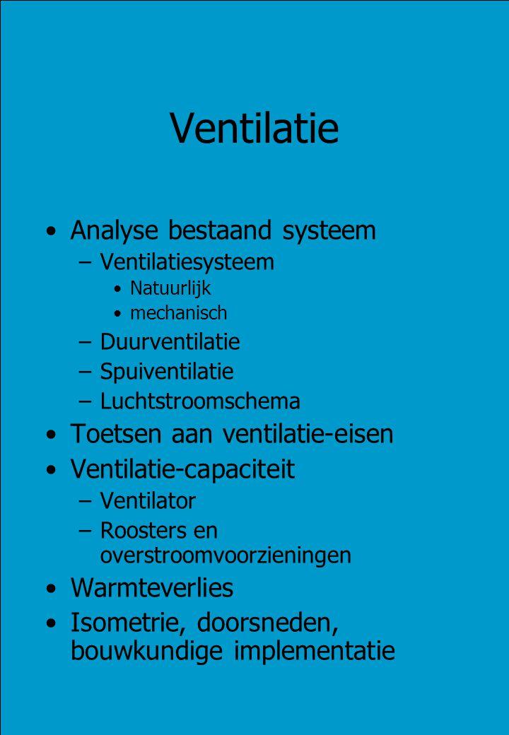 Ventilatie Analyse bestaand systeem –Ventilatiesysteem Natuurlijk mechanisch –Duurventilatie –Spuiventilatie –Luchtstroomschema Toetsen aan ventilatie-eisen Ventilatie-capaciteit –Ventilator –Roosters en overstroomvoorzieningen Warmteverlies Isometrie, doorsneden, bouwkundige implementatie