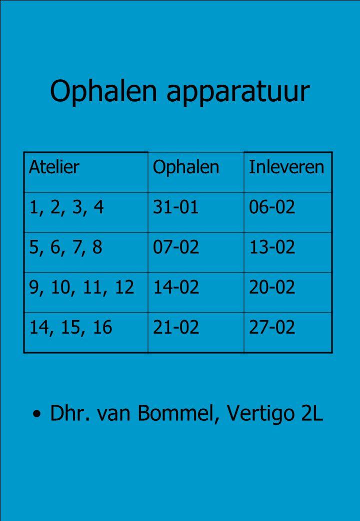 Ophalen apparatuur Dhr. van Bommel, Vertigo 2L AtelierOphalenInleveren 1, 2, 3, 431-0106-02 5, 6, 7, 807-0213-02 9, 10, 11, 1214-0220-02 14, 15, 1621-