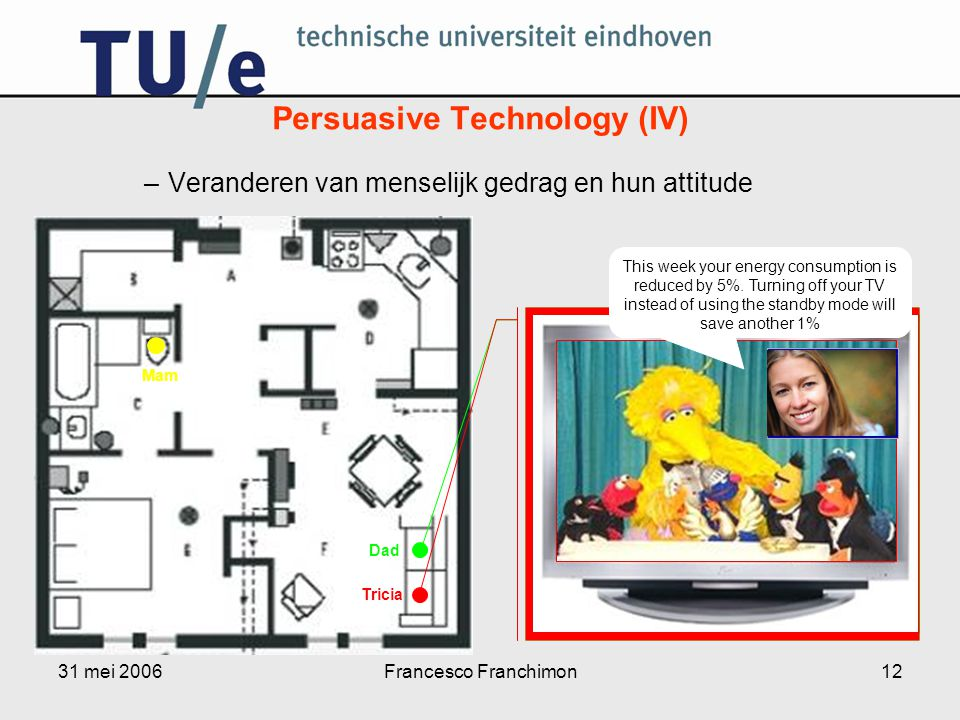 31 mei 2006Francesco Franchimon12 –Veranderen van menselijk gedrag en hun attitude Persuasive Technology (IV) Dad Mam Tricia Start This week your energy consumption is reduced by 5%.