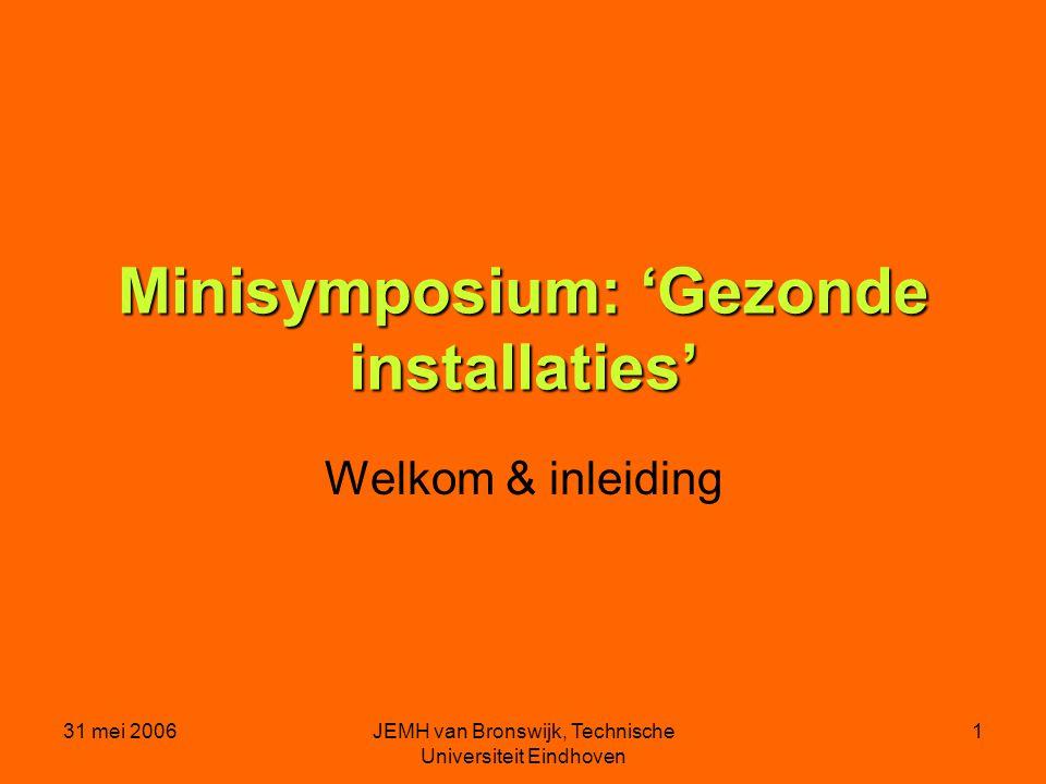 31 mei 2006JEMH van Bronswijk, Technische Universiteit Eindhoven 1 Minisymposium: 'Gezonde installaties' Welkom & inleiding