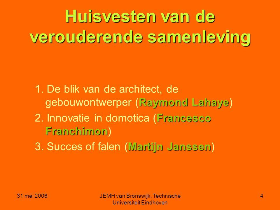 31 mei 2006JEMH van Bronswijk, Technische Universiteit Eindhoven 4 Huisvesten van de verouderende samenleving Raymond Lahaye 1.