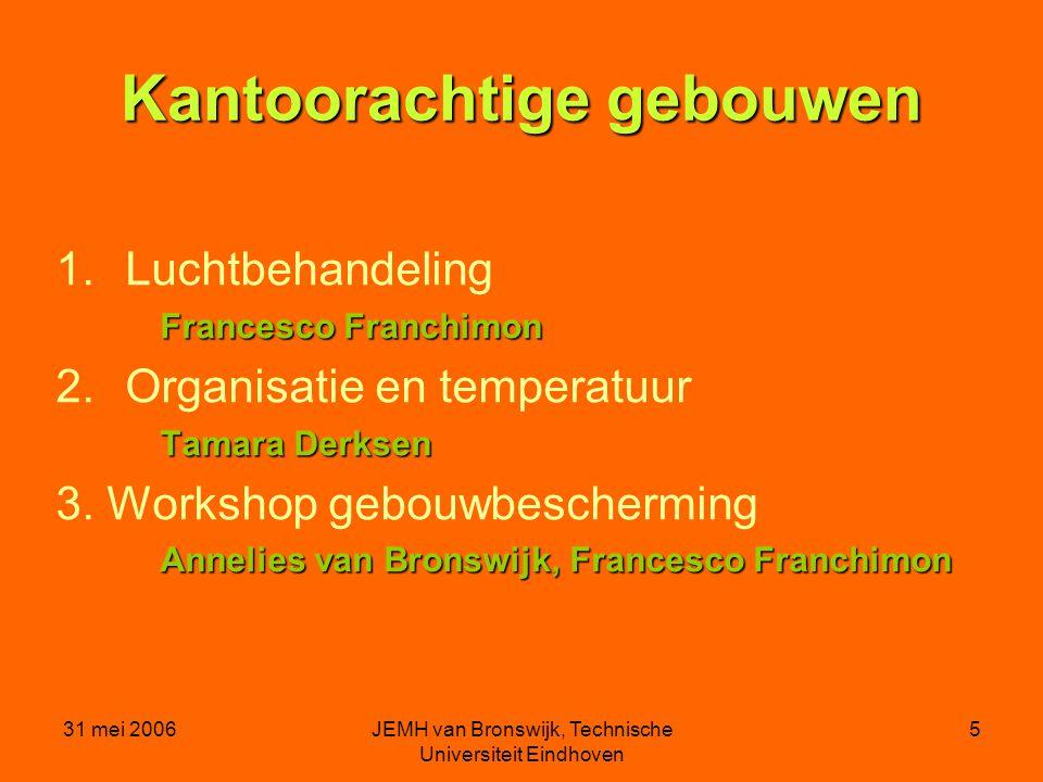 31 mei 2006JEMH van Bronswijk, Technische Universiteit Eindhoven 5 Kantoorachtige gebouwen 1.Luchtbehandeling Francesco Franchimon 2.Organisatie en temperatuur Tamara Derksen 3.