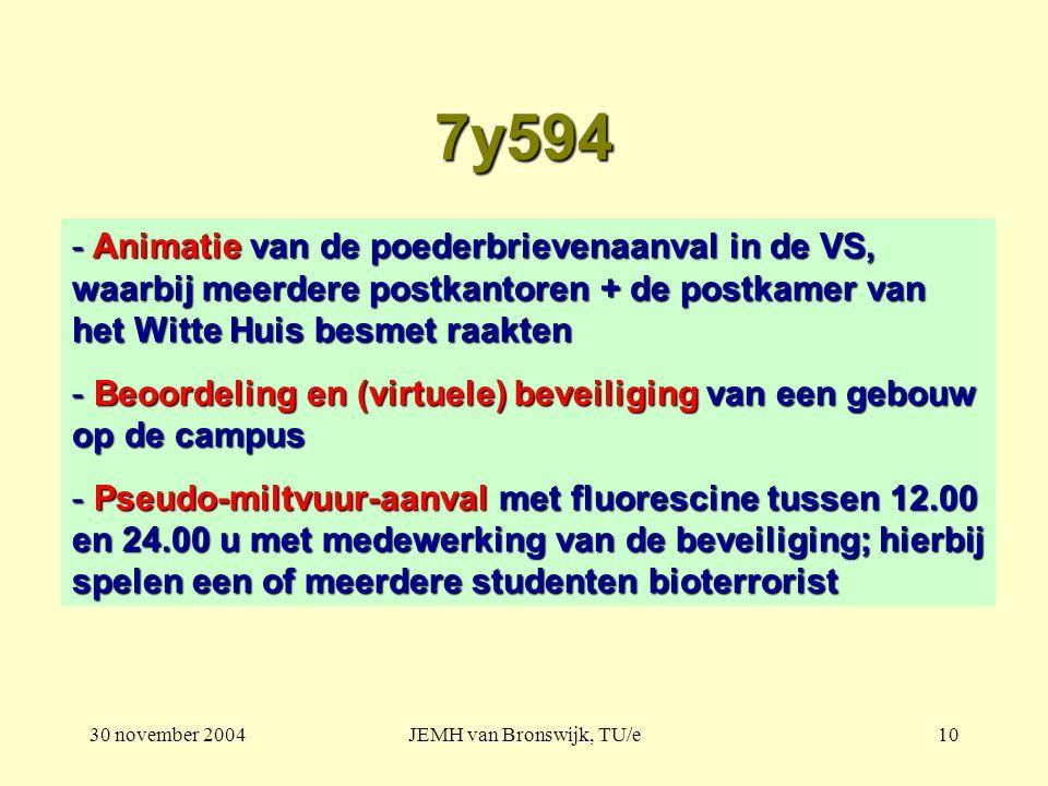 30 november 2004JEMH van Bronswijk, TU/e10 7y594 - Animatie van de poederbrievenaanval in de VS, waarbij meerdere postkantoren + de postkamer van het Witte Huis besmet raakten - Beoordeling en (virtuele) beveiliging van een gebouw op de campus - Pseudo-miltvuur-aanval met fluorescine tussen 12.00 en 24.00 u met medewerking van de beveiliging; hierbij spelen een of meerdere studenten bioterrorist