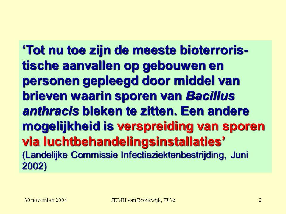 30 november 2004JEMH van Bronswijk, TU/e2 'Tot nu toe zijn de meeste bioterroris- tische aanvallen op gebouwen en personen gepleegd door middel van brieven waarin sporen van Bacillus anthracis bleken te zitten.