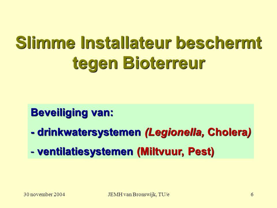 30 november 2004JEMH van Bronswijk, TU/e6 Slimme Installateur beschermt tegen Bioterreur Beveiliging van: - drinkwatersystemen (Legionella, Cholera) - ventilatiesystemen (Miltvuur, Pest)