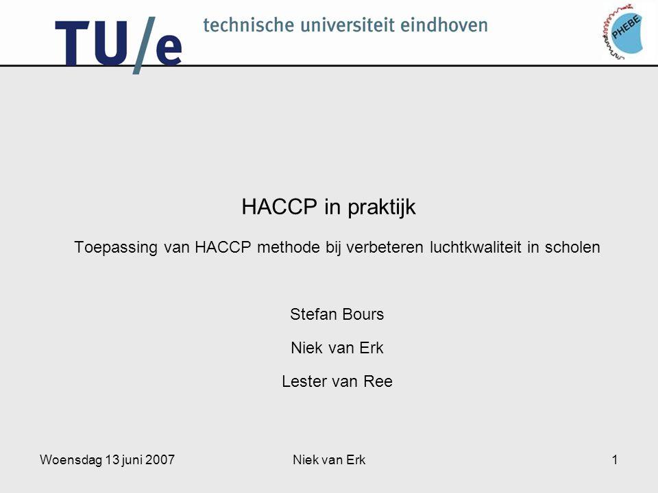 Woensdag 13 juni 2007Niek van Erk1 HACCP in praktijk Toepassing van HACCP methode bij verbeteren luchtkwaliteit in scholen Stefan Bours Niek van Erk Lester van Ree