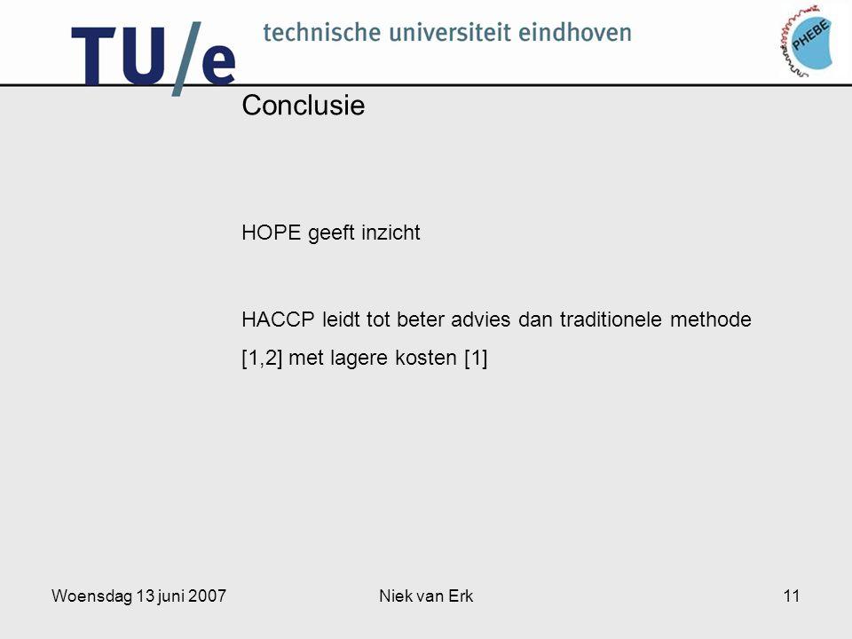 Woensdag 13 juni 2007Niek van Erk11 Conclusie HOPE geeft inzicht HACCP leidt tot beter advies dan traditionele methode [1,2] met lagere kosten [1]