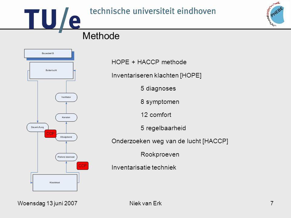 Woensdag 13 juni 2007Niek van Erk7 Methode HOPE + HACCP methode Inventariseren klachten [HOPE] 5 diagnoses 8 symptomen 12 comfort 5 regelbaarheid Onderzoeken weg van de lucht [HACCP] Rookproeven Inventarisatie techniek CCP