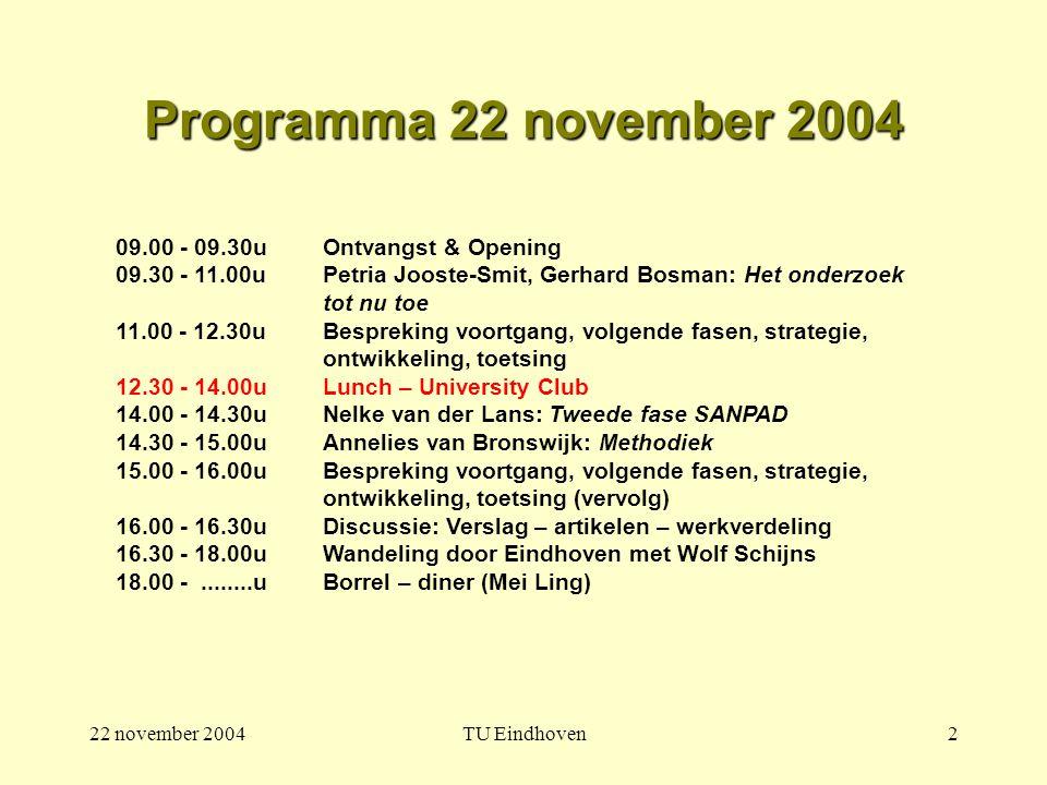 22 november 2004TU Eindhoven2 Programma 22 november 2004 09.00 - 09.30u Ontvangst & Opening 09.30 - 11.00u Petria Jooste-Smit, Gerhard Bosman: Het onderzoek tot nu toe 11.00 - 12.30u Bespreking voortgang, volgende fasen, strategie, ontwikkeling, toetsing 12.30 - 14.00uLunch – University Club 14.00 - 14.30uNelke van der Lans: Tweede fase SANPAD 14.30 - 15.00u Annelies van Bronswijk: Methodiek 15.00 - 16.00u Bespreking voortgang, volgende fasen, strategie, ontwikkeling, toetsing (vervolg) 16.00 - 16.30u Discussie: Verslag – artikelen – werkverdeling 16.30 - 18.00uWandeling door Eindhoven met Wolf Schijns 18.00 -........uBorrel – diner (Mei Ling)