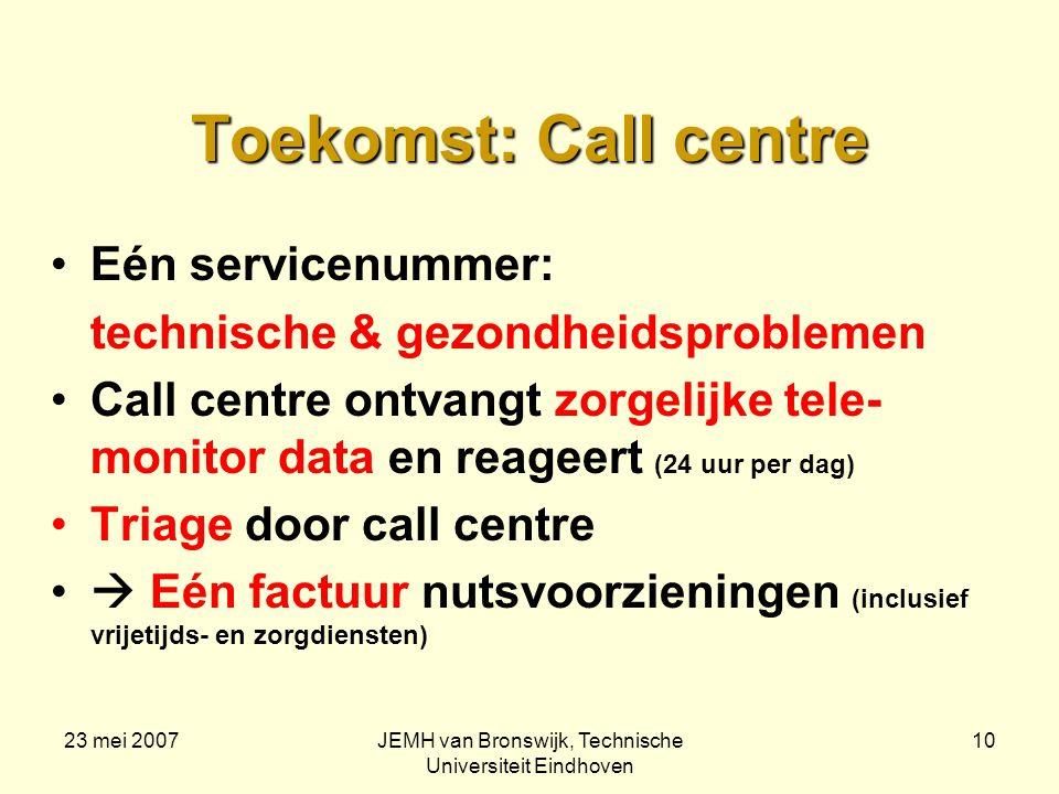 23 mei 2007JEMH van Bronswijk, Technische Universiteit Eindhoven 10 Toekomst: Call centre Eén servicenummer: technische & gezondheidsproblemen Call centre ontvangt zorgelijke tele- monitor data en reageert (24 uur per dag) Triage door call centre  Eén factuur nutsvoorzieningen (inclusief vrijetijds- en zorgdiensten)