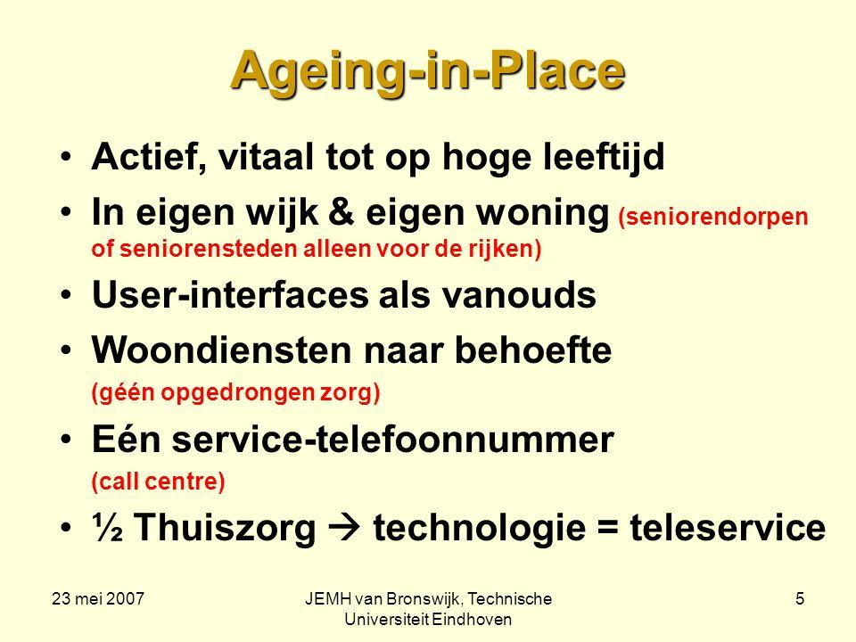 23 mei 2007JEMH van Bronswijk, Technische Universiteit Eindhoven 5 Ageing-in-Place Actief, vitaal tot op hoge leeftijd In eigen wijk & eigen woning (seniorendorpen of seniorensteden alleen voor de rijken) User-interfaces als vanouds Woondiensten naar behoefte (géén opgedrongen zorg) Eén service-telefoonnummer (call centre) ½ Thuiszorg  technologie = teleservice