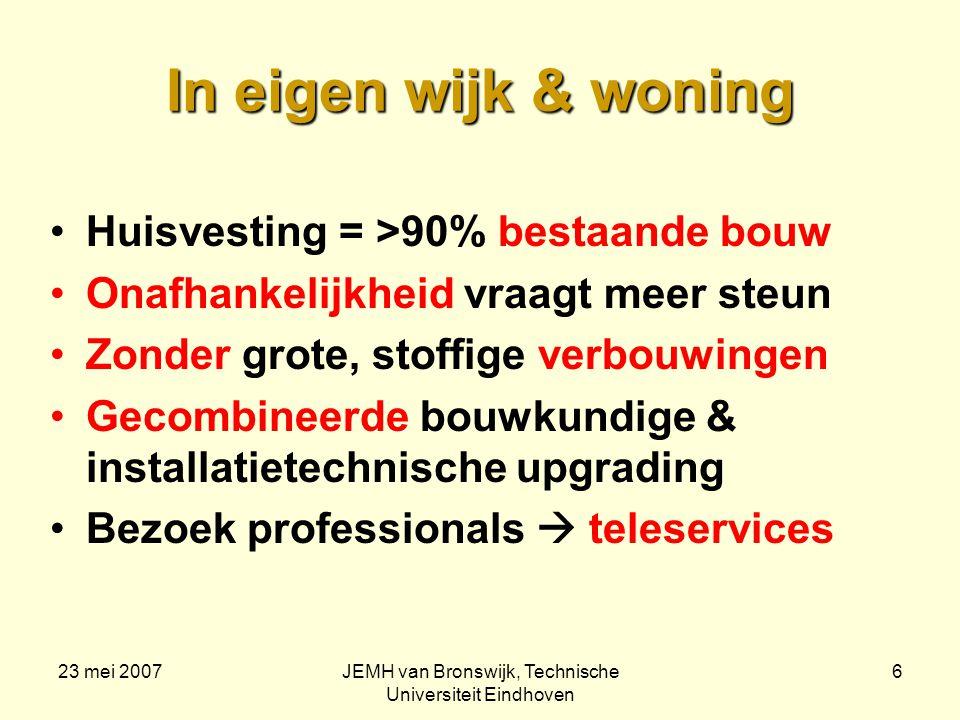 23 mei 2007JEMH van Bronswijk, Technische Universiteit Eindhoven 7 User-interfaces als vanouds De woning ziet er gewoon uit Alles werkt zoals men gewend is Geen handleiding nodig Geen leren van gebruik nodig (wel naslawerk) Functies, geen technologie Onderzoek met focus groepen