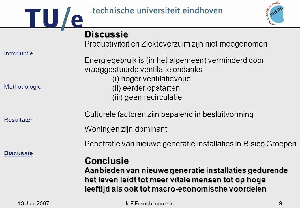 13 Juni 2007Ir F.Franchimon e.a.9 Introductie Methodologie ResultatenDiscussie Discussie Productiviteit en Ziekteverzuim zijn niet meegenomen Energieg