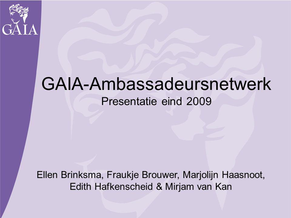 GAIA-Ambassadeursnetwerk Presentatie eind 2009 Ellen Brinksma, Fraukje Brouwer, Marjolijn Haasnoot, Edith Hafkenscheid & Mirjam van Kan