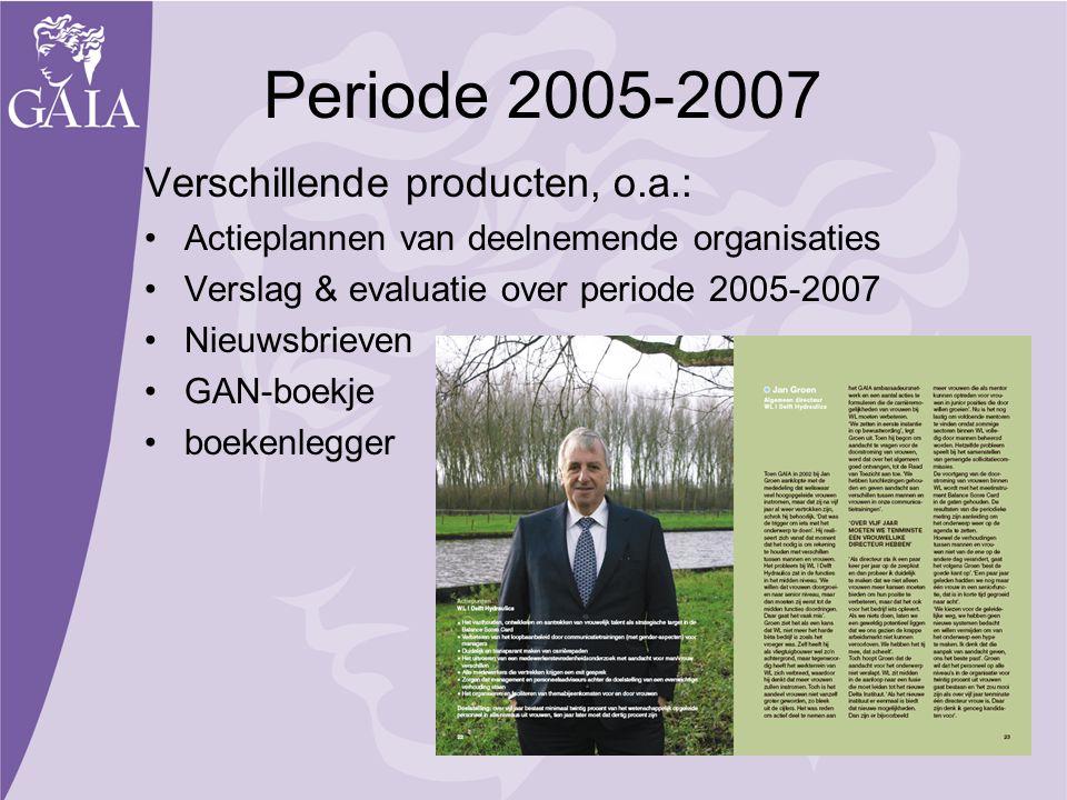 Periode 2005-2007 Verschillende producten, o.a.: Actieplannen van deelnemende organisaties Verslag & evaluatie over periode 2005-2007 Nieuwsbrieven GA