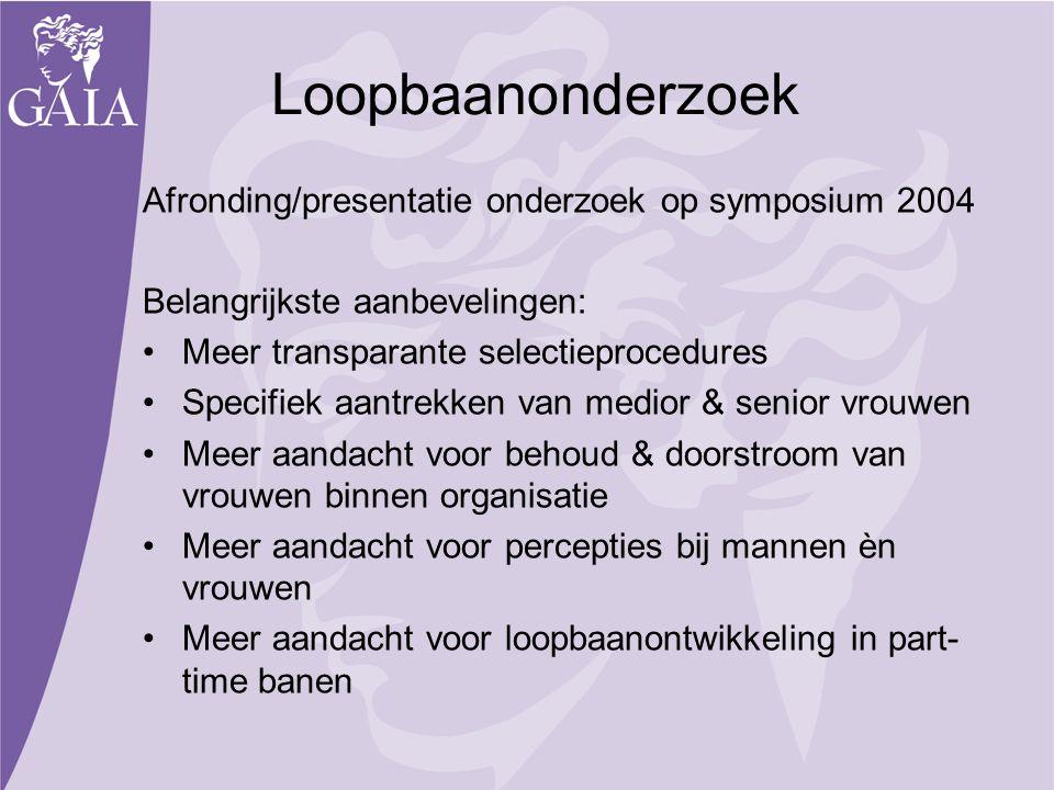 Loopbaanonderzoek Afronding/presentatie onderzoek op symposium 2004 Belangrijkste aanbevelingen: Meer transparante selectieprocedures Specifiek aantre