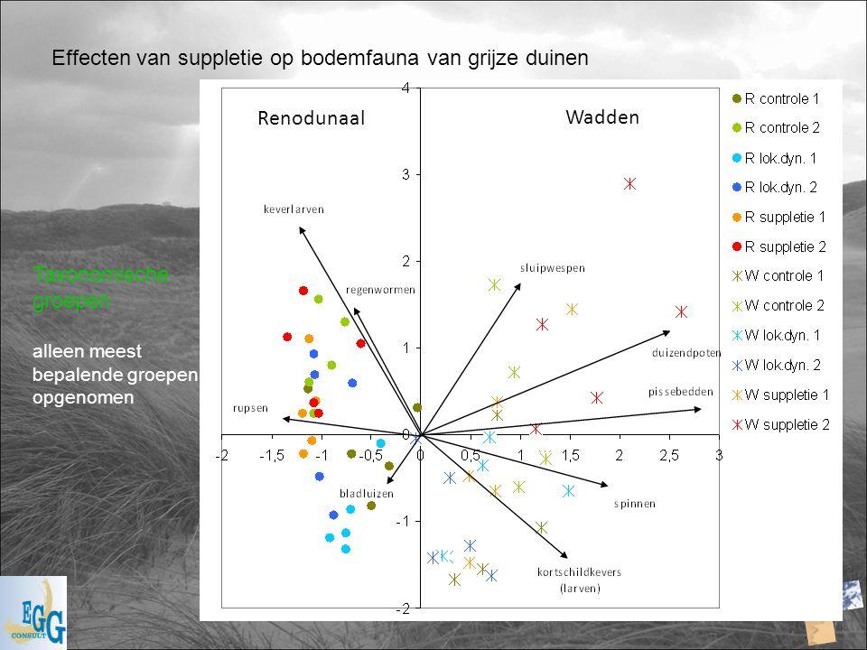 Effecten van suppletie op bodemfauna van grijze duinen Taxonomische groepen alleen meest bepalende groepen opgenomen Renodunaal Wadden