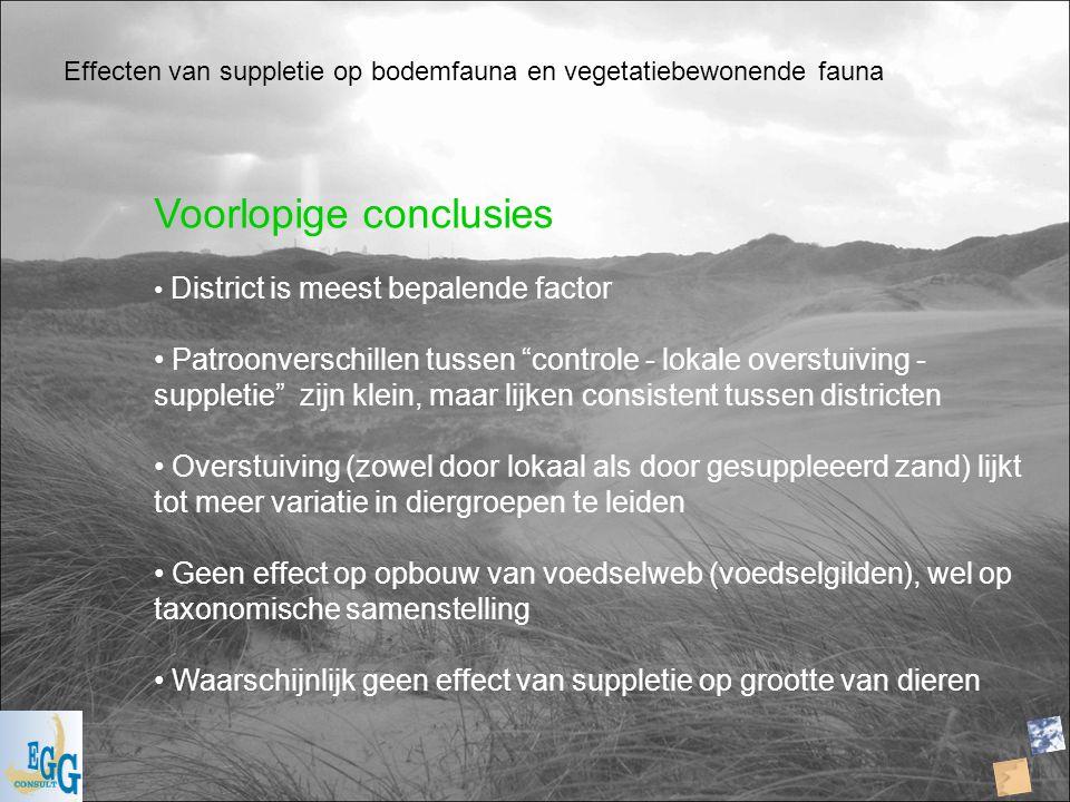 """Effecten van suppletie op bodemfauna en vegetatiebewonende fauna Voorlopige conclusies District is meest bepalende factor Patroonverschillen tussen """"c"""