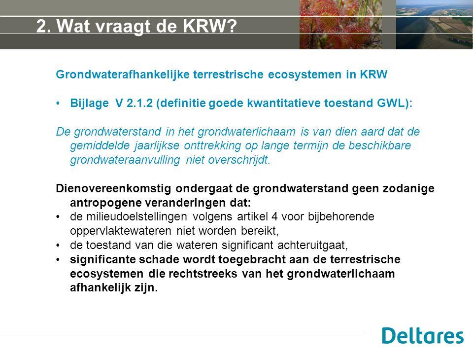 2. Wat vraagt de KRW? Grondwaterafhankelijke terrestrische ecosystemen in KRW Bijlage V 2.1.2 (definitie goede kwantitatieve toestand GWL): De grondwa