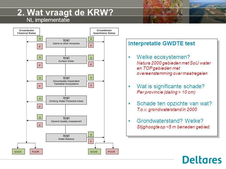 2. Wat vraagt de KRW? Interpretatie GWDTE test Welke ecosystemen? Natura 2000 gebieden met SoU water en TOP gebieden met overeenstemming over maatrege