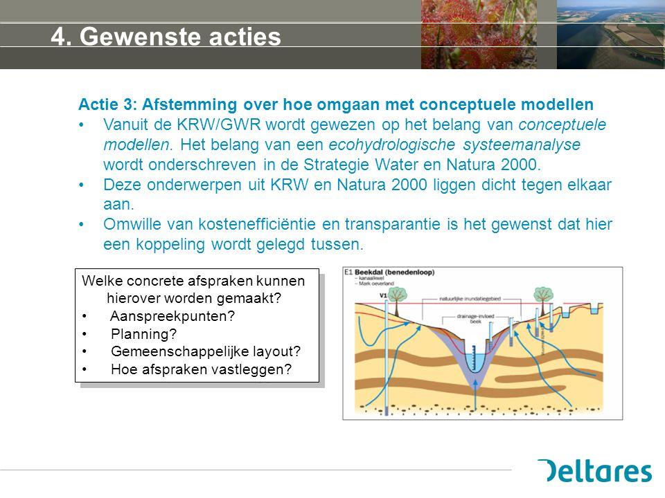 4. Gewenste acties Actie 3: Afstemming over hoe omgaan met conceptuele modellen Vanuit de KRW/GWR wordt gewezen op het belang van conceptuele modellen