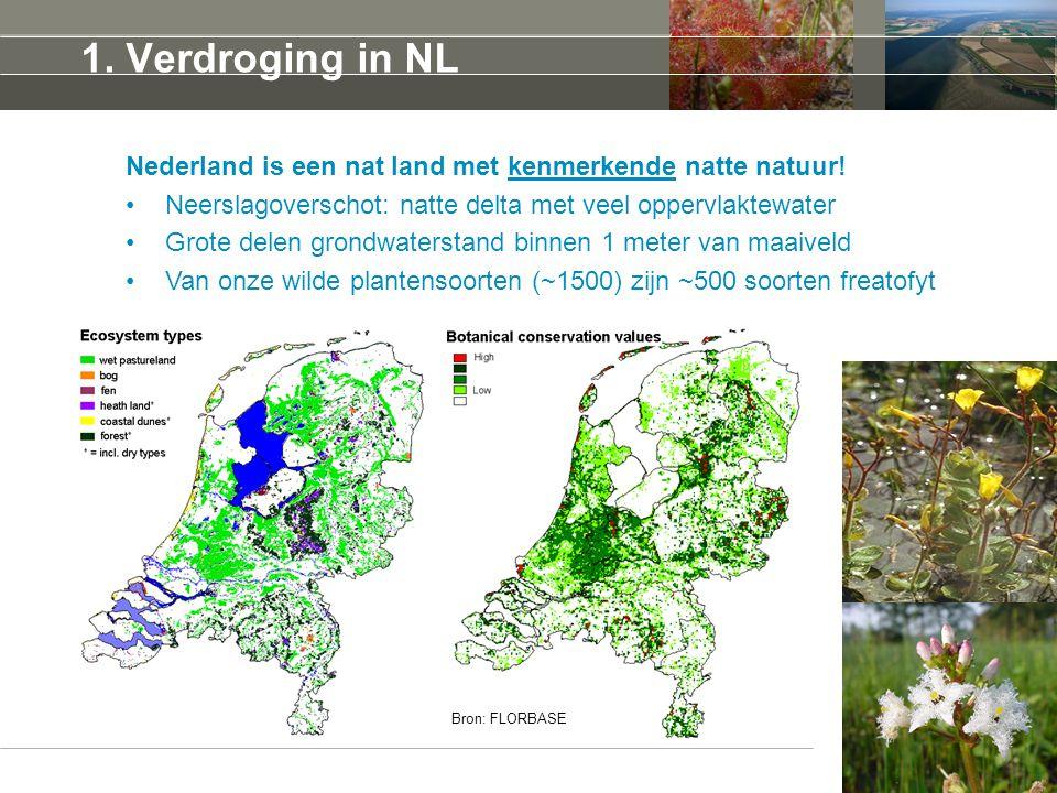 1. Verdroging in NL Nederland is een nat land met kenmerkende natte natuur! Neerslagoverschot: natte delta met veel oppervlaktewater Grote delen grond