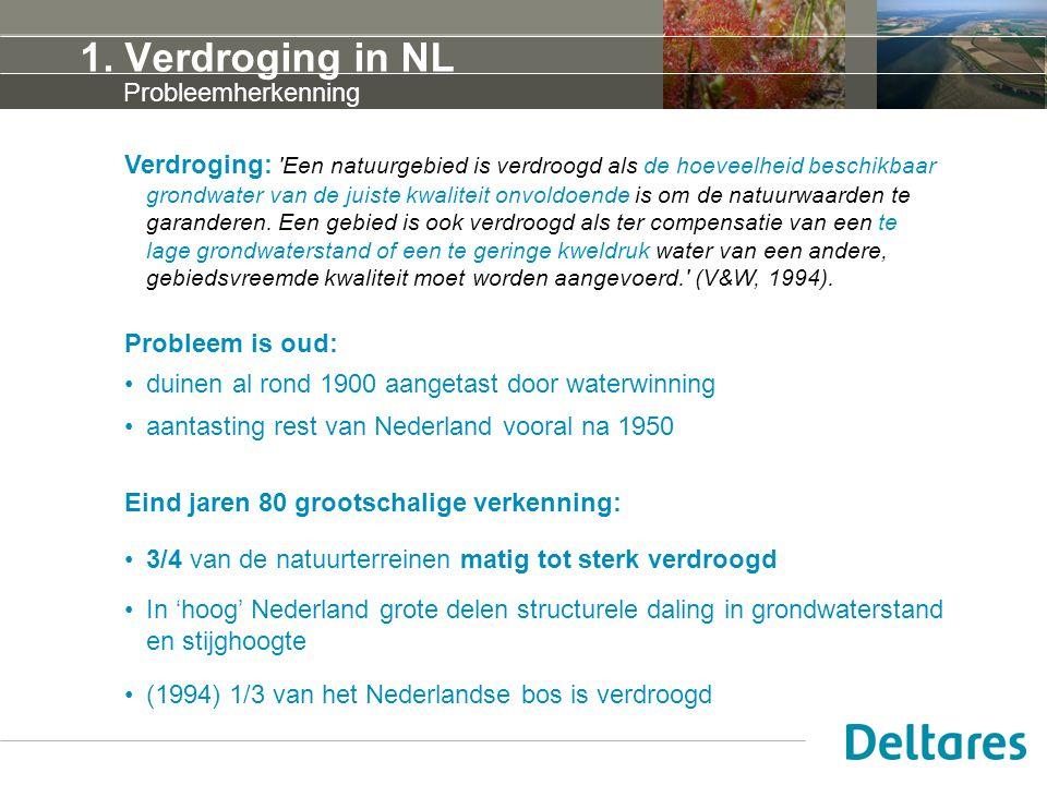 1. Verdroging in NL Verdroging: 'Een natuurgebied is verdroogd als de hoeveelheid beschikbaar grondwater van de juiste kwaliteit onvoldoende is om de