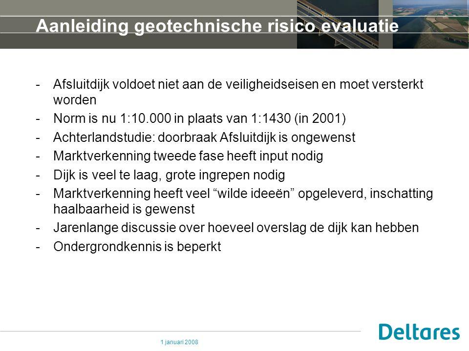 1 januari 2008 Aanleiding geotechnische risico evaluatie -Afsluitdijk voldoet niet aan de veiligheidseisen en moet versterkt worden -Norm is nu 1:10.0