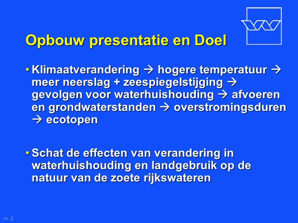 nr. 2 Opbouw presentatie en Doel Klimaatverandering  hogere temperatuur  meer neerslag + zeespiegelstijging  gevolgen voor waterhuishouding  afvoe