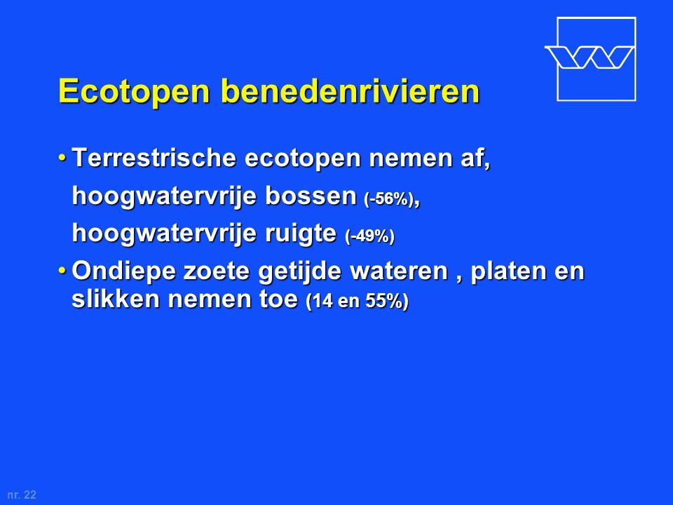 nr. 22 Ecotopen benedenrivieren Terrestrische ecotopen nemen af,Terrestrische ecotopen nemen af, hoogwatervrije bossen (-56%), hoogwatervrije ruigte (