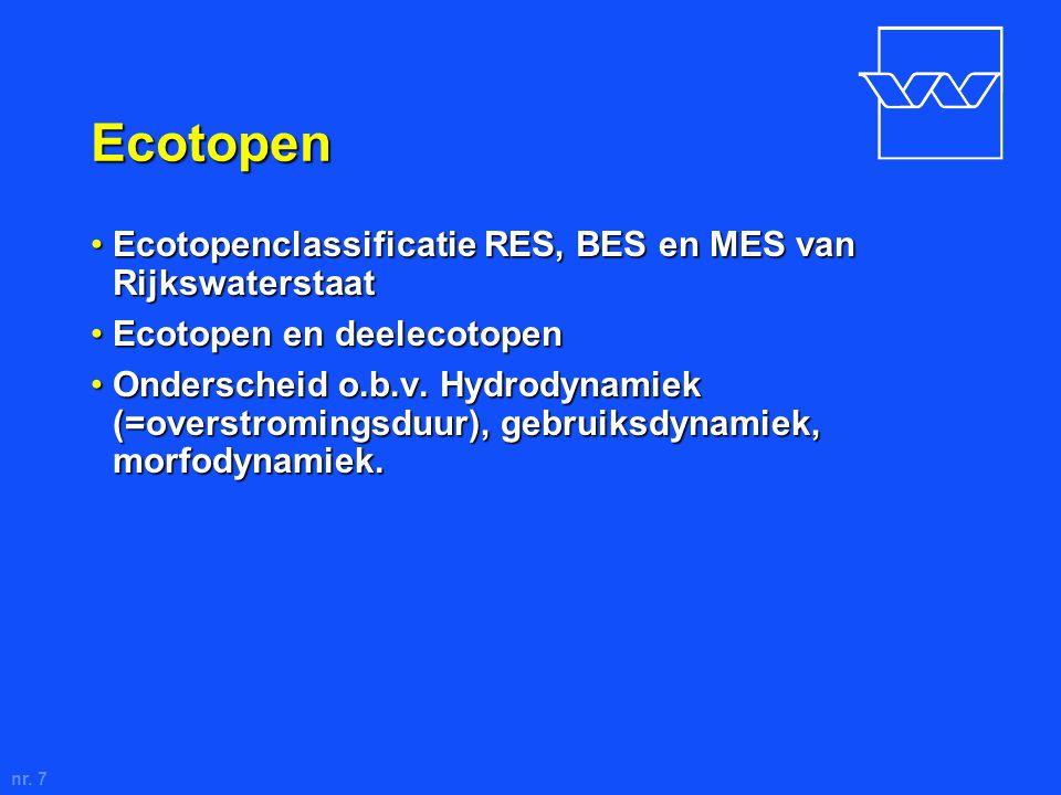 nr. 7 Ecotopen Ecotopenclassificatie RES, BES en MES van RijkswaterstaatEcotopenclassificatie RES, BES en MES van Rijkswaterstaat Ecotopen en deelecot