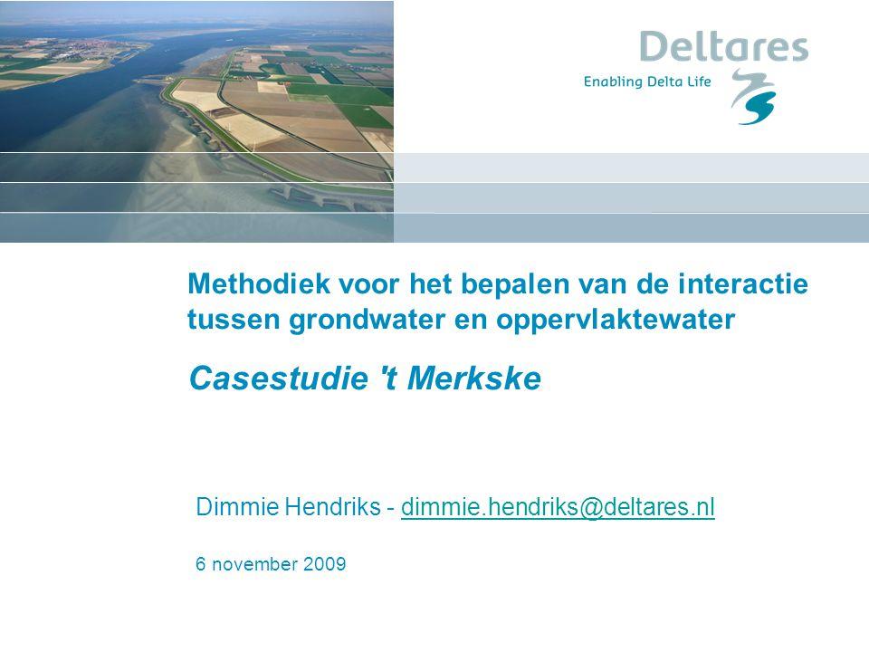 6 november 2009 Methodiek voor het bepalen van de interactie tussen grondwater en oppervlaktewater Casestudie 't Merkske Dimmie Hendriks - dimmie.hend