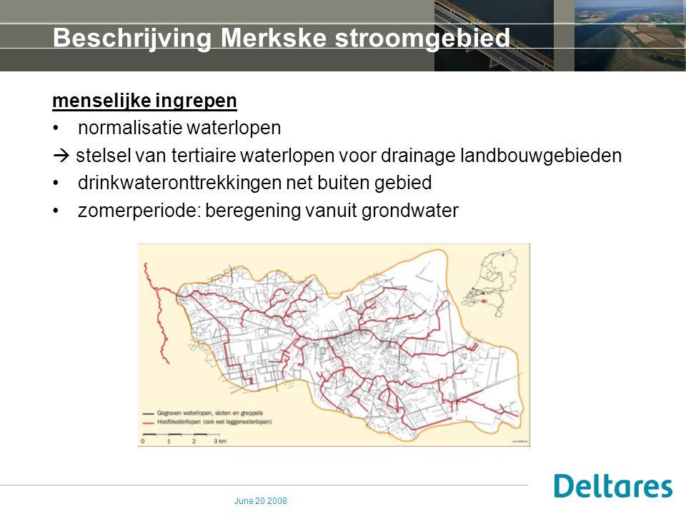 June 20 2008 Beschrijving Merkske stroomgebied menselijke ingrepen normalisatie waterlopen  stelsel van tertiaire waterlopen voor drainage landbouwge