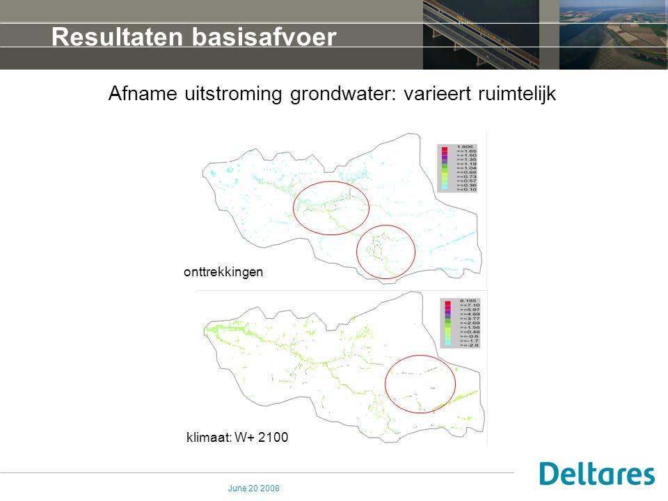 June 20 2008 Resultaten basisafvoer Afname uitstroming grondwater: varieert ruimtelijk onttrekkingen klimaat: W+ 2100