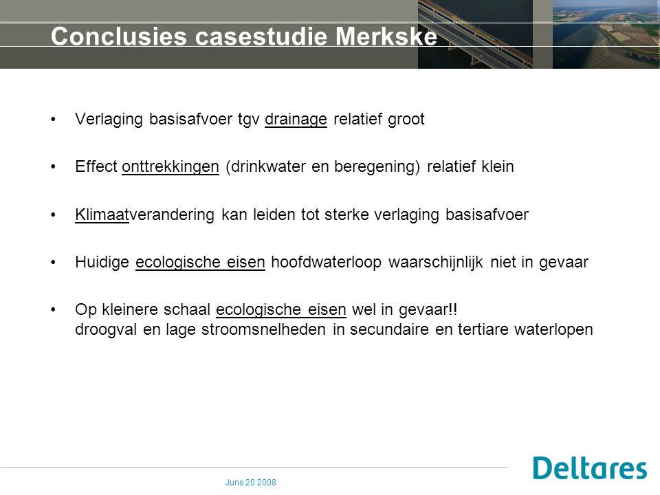 June 20 2008 Conclusies casestudie Merkske Verlaging basisafvoer tgv drainage relatief groot Effect onttrekkingen (drinkwater en beregening) relatief
