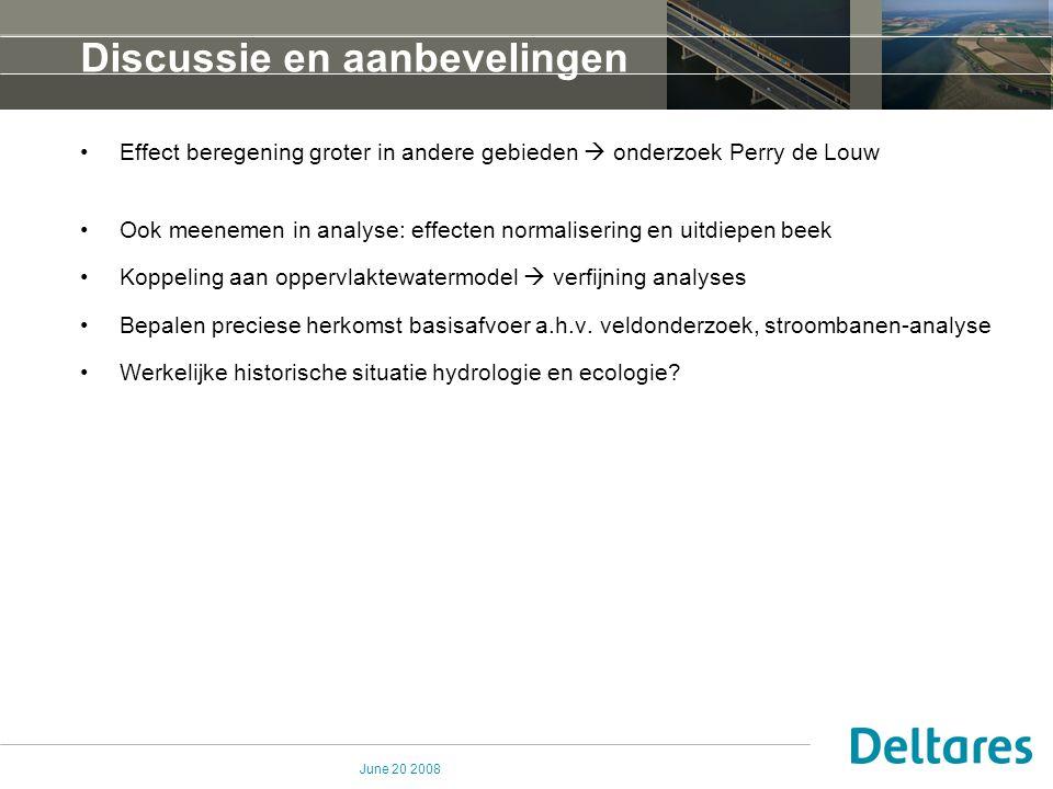 June 20 2008 Discussie en aanbevelingen Effect beregening groter in andere gebieden  onderzoek Perry de Louw Ook meenemen in analyse: effecten normal