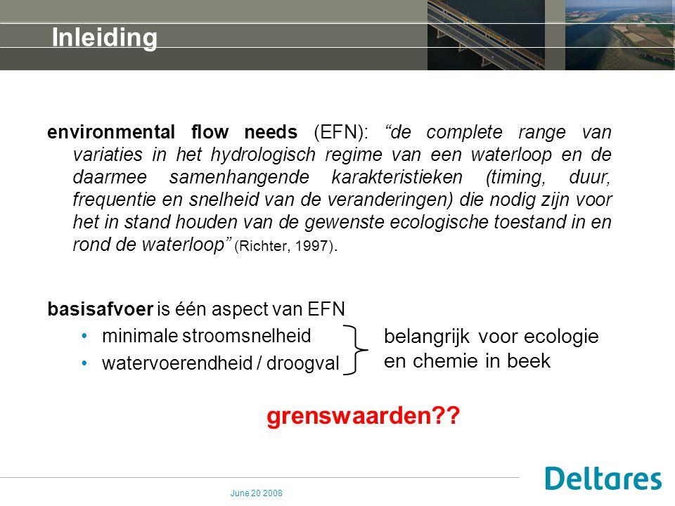June 20 2008 Inleiding Basisafvoer ~ opkwellend grondwater  veranderingen in grondwater hebben effect op basisafvoer, stroomsnelheid en watervoerendheid / droogval.
