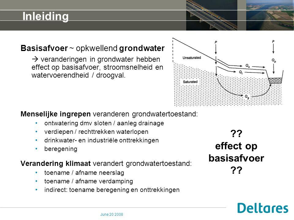 June 20 2008 Inleiding Basisafvoer ~ opkwellend grondwater  veranderingen in grondwater hebben effect op basisafvoer, stroomsnelheid en watervoerendh