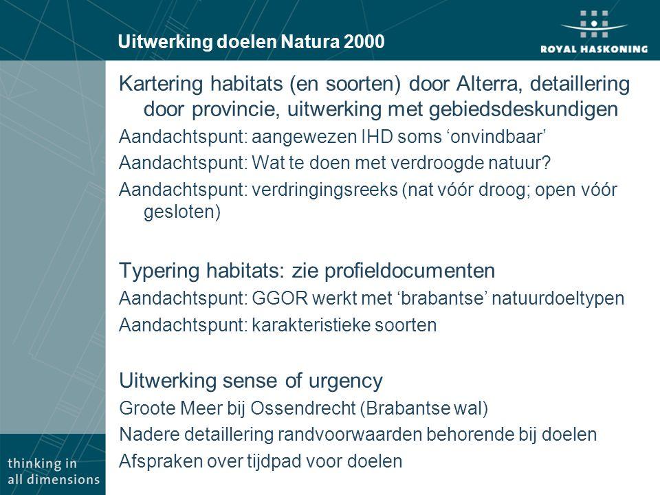 Uitwerking doelen Natura 2000 Kartering habitats (en soorten) door Alterra, detaillering door provincie, uitwerking met gebiedsdeskundigen Aandachtspunt: aangewezen IHD soms 'onvindbaar' Aandachtspunt: Wat te doen met verdroogde natuur.