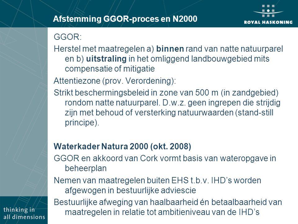 Afstemming GGOR-proces en N2000 GGOR: Herstel met maatregelen a) binnen rand van natte natuurparel en b) uitstraling in het omliggend landbouwgebied mits compensatie of mitigatie Attentiezone (prov.