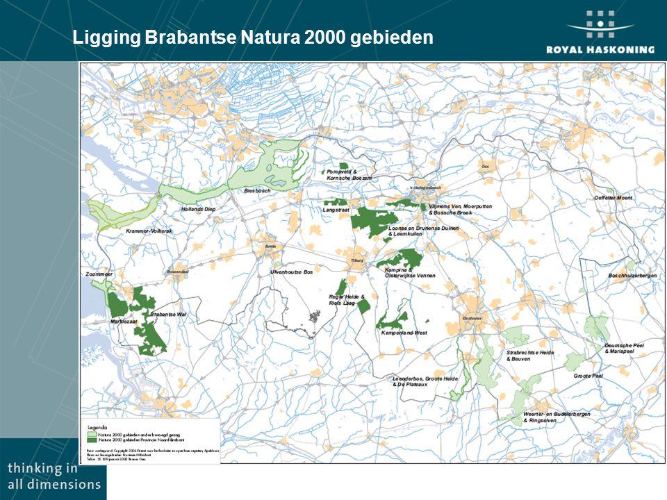 Ligging Brabantse Natura 2000 gebieden