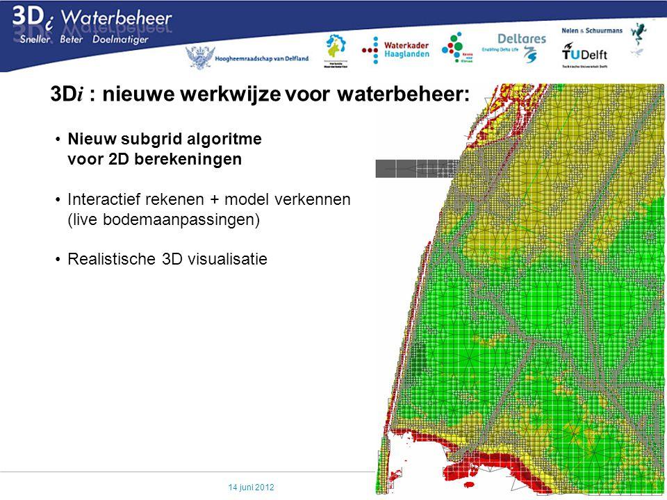 14 juni 2012 3D i : nieuwe werkwijze voor waterbeheer: Nieuw subgrid algoritme voor 2D berekeningen Interactief rekenen + model verkennen (live bodema