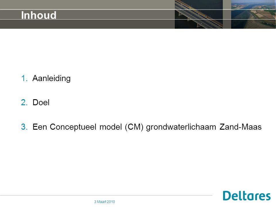 3 Maart 2010 Inhoud 1.Aanleiding 2.Doel 3.Een Conceptueel model (CM) grondwaterlichaam Zand-Maas